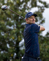 May 5, 2019 - Charlotte, North Carolina, United States of America - Justin Rose tees off on the sixteenth hole during the final round of the 2019 Wells Fargo Championship at Quail Hollow Club on May 05, 2019 in Charlotte, North Carolina. (Credit Image: © Spencer Lee/ZUMA Wire)