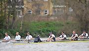 Putney- Mortlake, LONDON, GREAT BRITAIN,  Oxfords' right to left;  ,5. Karl HUDSPITH, 6. Dr. Hanno WIENHAUSEN, 7. Dan HARVEY, Stk. Roel HAEN, Cox. Zoe DE TOLEDO.  Cambridges. Bow. David NELSON, 2. Moritz SCHRAMM and 3. Jack LINDEMAN. 2012 Boat Race, Oxford University vs Cambridge University. racing over the championship course. Putney/Mortlake, Saturday  07/04/2012  [Mandatory Credit, Peter Spurrier/Intersport-images]..Crews:.OUBC. Bow Dr. Alexander WOODS, 2. William ZENG, 3. Kevin BAUM, 4. Alex DAVIDSON,5. Karl HUDSPITH, 6. Dr. Hanno WIENHAUSEN, 7. Dan HARVEY, Stk. Roel HAEN, Cox. Zoe DE TOLEDO...CUBC. Bow. David NELSON, 2. Moritz SCHRAMM, 3. Jack LINDEMAN, 4. Alex ROSS , 5.Michael THORP, 6. Steve DUDEK, 7 Alexander SCHARP, Stk. Niles GARRETT . Cox. Ed BOSSON .
