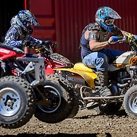 100414       Cable Hoover<br /> <br /> Robbie Carlson takes the lead out of the gate in the Quad B/C class of the Scott Costley Memorial Motocross race Saturday at the Gallup OHV MX Park.