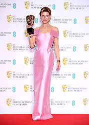 Renee Zellweger with her award for Best Actress in the press room at the 73rd British Academy Film Awards held at the Royal Albert Hall, London.