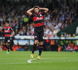Queen Park Rangers' Charlie Austin gutted after coming close to scoring. - Photo mandatory by-line: Alex James/JMP - Tel: Mobile: 07966 386802 21/09/2013 - SPORT - FOOTBALL - Huish Park - Yeovil - Yeovil Town V Queens Park Rangers - Sky Bet Championship