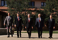 Five presidents walk to the crowd waiting at the opening of the Reagan Presidential Library in Simi Valley, California..Photograph by Dennis Brack bb24
