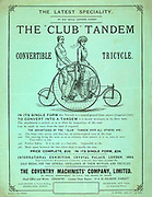 Club Convertible Tandem tricycle advertisement. Man and woman ride a Club Convertible Tandem Converted from a tricycle to be used be two people. London, 1884