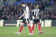 RED CARD Grimsby Town defender Andrew Fox (19) sent off for his challenge on Crystal Palace midfielder Andros Townsend (10) during the The FA Cup 3rd round match between Crystal Palace and Grimsby Town FC at Selhurst Park, London, England on 5 January 2019.