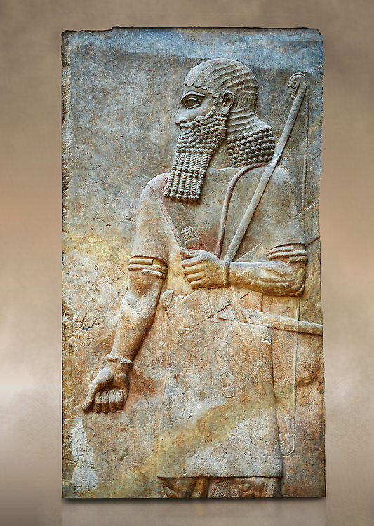 Stone relief sculptured panel of Soldier. Room 8. Inv AO 19877 from Dur Sharrukin the palace of Assyrian king Sargon II at Khorsabad, 713-706 BC.  Louvre Museum Room 4 , Paris .<br /> <br /> If you prefer to buy from our ALAMY PHOTO LIBRARY  Collection visit : https://www.alamy.com/portfolio/paul-williams-funkystock/ancient-assyria-antiquities.html  Refine search by adding background colour, place, subject, museum etc into the LOWER SEARCH WITHIN GALLERY box to <br /> <br /> Visit our ANCIENT WORLD PHOTO COLLECTIONS for more photos to download or buy as wall art prints https://funkystock.photoshelter.com/gallery-collection/Ancient-World-Art-Antiquities-Historic-Sites-Pictures-Images-of/C00006u26yqSkDOM