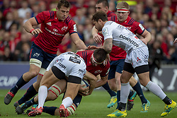 October 20, 2018 - Limerick, Ireland - Jean Kleyn of Munster tackled by Billy Twelvetrees and Danny Cipriani of Gloucester during the Heineken Champions Cup match between Munster Rugby and Gloucester Rugby at Thomond Park in Limerick, Ireland on October 20, 2018  (Credit Image: © Andrew Surma/NurPhoto via ZUMA Press)