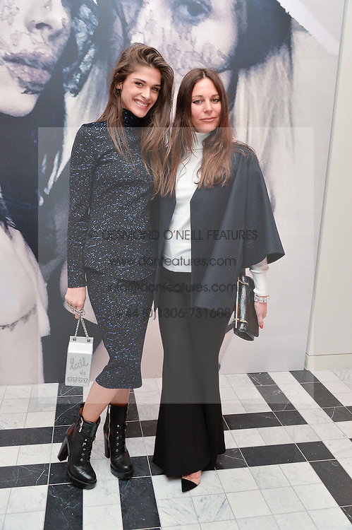 Left to right, ELISA SEDNAOUI and LISA MARIE FERNANDEZ at a dinner to celebrate the exclusive Capsule collection: Maison Michel by Karl Lagerfeld held at Selfridges, 400 Oxford Street, London on 23rd February 2015.