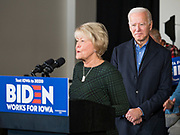 23 NOVEMBER 2019 - DES MOINES, IOWA: Christie Vilsack endorses Joe Biden during a Biden campaign event. Vice President Biden announced that Tom Vilsack, the former Democratic governor of Iowa, endorsed him. Biden and Vilsack appeared with their wives at an event in Des Moines. Iowa hosts the first presidential selection event of the 2020 election cycle. The Iowa caucuses are on February 3, 2020.                   PHOTO BY JACK KURTZ