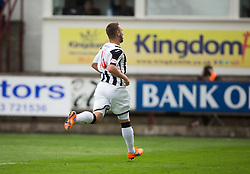 Dunfermline's Ryan Wallace cele scoring their sixth goal. <br /> Dunfermline 7 v 1 Cowdenbeath, SPFL Ladbrokes League Division One game played 15/8/2015 at East End Park.