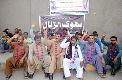 October 9, 2018 - Pakistan - HYDERABAD, PAKISTAN, OCT 08: Temporary Employees of Sindh Building Control .Authority are holding protest demonstration for acceptance of their demands, at Hyderabad press .club on Monday, October 08, 2018. (Credit Image: © PPI via ZUMA Wire)