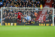 Mohamed Salah of Liverpool sees his 1st half penalty saved by Huddersfield Town Goalkeeper Jonas Lossl. Premier League match, Liverpool v Huddersfield Town at the Anfield stadium in Liverpool, Merseyside on Saturday 28th October 2017.<br /> pic by Chris Stading, Andrew Orchard sports photography.