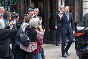 Prince William, Duke of Cambridge leaves BAFTA's temporary location on Piccadilly on the 16th September 2019 in London in the United Kingdom. The British Academy of Film and Television Arts (BAFTA) is an independent charity that supports, develops and promotes the art forms of the moving image in the UK. Currently undergoing a major new renovation project at their 195 Piccadilly office, Prince William is the president for the BAFTA charity and was visiting to open the temporary space.