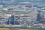Israel, Haifa bay, the flues and chimneys of the Petrochemical factory