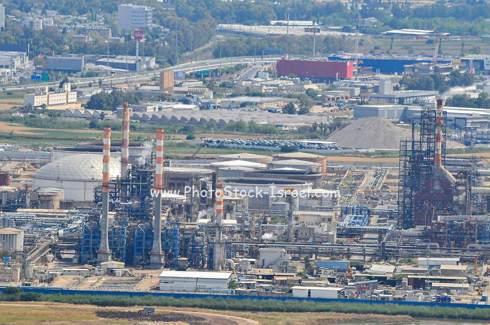 Israel, Haifa bay, the flues and chimneys of the Petrochemical factory