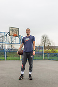 A portrait of a Basketball Player in Pittville Park, Cheltenham during the second UK national lockdown November 2020. Credit: Joseph Walsh/UoG/PathosImages
