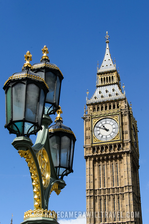 Elizabeth Tower and Ornate Street Lights 169-095045607 169-095045607 The clock of Elizabeth Tower (commonly known as Big Ben) on the Palace of Westminster, with some of the ornate streets lights of Westminster Bridge in the foreground.