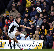 Wycombe. GREAT BRITAIN, 10th October 2004, Guinness Premiership Rugby, London Wasps and Newcastle Falcons, Adams Park, ENGLAND. [Mandatory Credit; Pete Spurrier/Intersport-images]<br /> <br /> Falcons's Jonny Wilkinson, kicking the conversion to Michael Stephenson's late second half try.