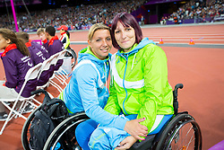 Tanja Cerkvenik and Tatjana Majcen Ljubic of Slovenia during the Women's Shot Put F54/ F55 in athletics during Day 4 of the Summer Paralympic Games London 2012 on September 1, 2012, in Olympics stadium, London, Great Britain. (Photo by Vid Ponikvar / Sportida.com)