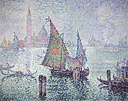 Venice; the Green Sail' 1804.  Paul Signac (1863-1935) French painter. Oil on canvas.