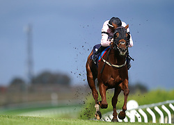 Darragh Keenan riding Sobriquet on their way to winning the Download The vickers.bet App Handicap at Brighton racecourse. Picture date: Tuesday October 5, 2021.