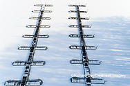63877-01318 Aerial view of boat docks after snowfall in winter Stephen A. Forbes St. Park Marion Co. IL