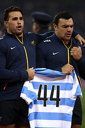 Argentina players to the 44 missing members of the Argentinian navy submarine that is missing before the Autumn International at the Aviva Stadium, Dublin.