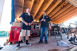 Pat Jansen and Chris Callen before the Cycle Source ride on the 78th annual Sturgis Motorcycle Rally. Sturgis, SD. USA. Wednesday August 8, 2018. Photography ©2018 Michael Lichter.