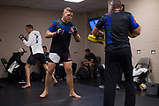 DALLAS, TX - MAY 13:  Chase Sherman warms up in the locker room before fighting Rashad Coulter during UFC 211 at the American Airlines Center on May 13, 2017 in Dallas, Texas. (Photo by Cooper Neill/Zuffa LLC/Zuffa LLC via Getty Images) *** Local Caption *** Chase Sherman