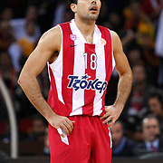 Olympiacos's Konstantinos Sloukas during their Turkish Airlines Euroleague Basketball Top 16 Group E Game 2 match Galatasaray between Olympiacos at Abdi Ipekci Arena in Istanbul, Turkey, Thursday, January 26, 2012. Photo by TURKPIX
