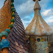 Gaudi's House of Batllo dragon roof (Casa de Batllo) in Barcelona, Spain