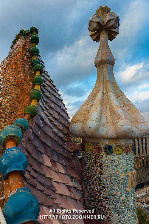 Gaudi's House of Batllo dragon roof (Casa de Batllo) in Barcelona, Spain