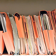 row of documents and files in orange folders