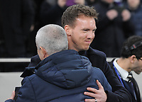 Football - 2019 / 2020 UEFA Champions League - Round of Sixteen, First Leg: Tottenham Hotspur vs. RB Leipzig<br /> <br /> Leipzig Manager / coach, Julian Nagelsmann is greeted by Spurs Manager, Jose Mourinho, at The Tottenham Hotspur Stadium.<br /> <br /> COLORSPORT/ANDREW COWIE