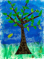 """Collage of tree with a single leaf falling. The falling leaf has some poetry text with the words """"rejoicing"""" and """"leaf"""" visable."""