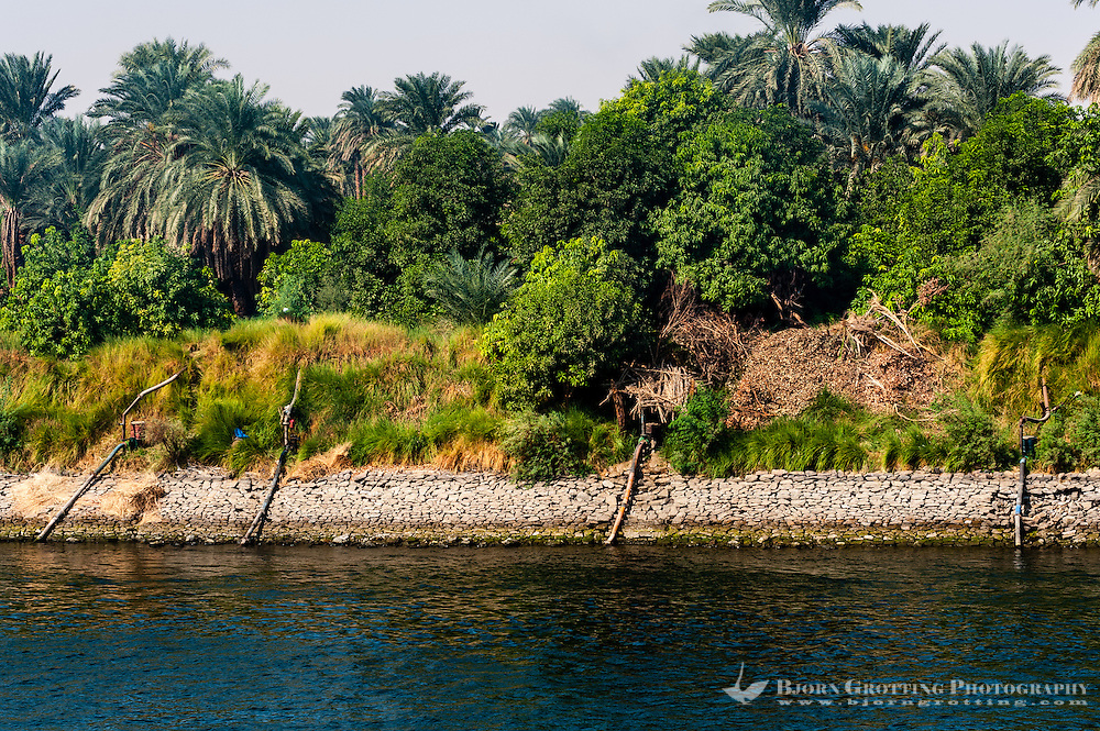 Egypt. Cruising the Nile from Kom Ombo to Luxor, passing Edfu and Esna. Water is pumped from the river.