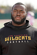 Los Angeles Wildcats defensive tackle Boogie Roberts during practice, Wednesday, Feb. 5, 2020, in Long Beach, Calif. The Wildcats are part of the eight-team XFL, a professional American football league owned by Vince McMahon's Alpha Entertainment, with  headquarters in Stamford, Connecticut. It is the successor to the original XFL, which was controlled by the World Wrestling Federation (WWF, now WWE)  and NBC, and ran for a single season in 2001.