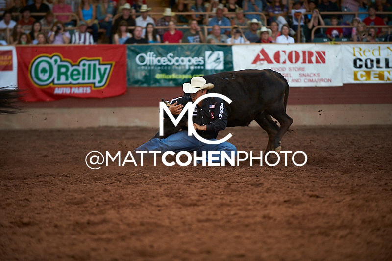 Steer wrestler Luke Branquinho of Los Alamos, CA competes at the Pikes Peak or Bust Rodeo in Colorado Springs, CO.<br /> <br /> <br /> UNEDITED LOW-RES PREVIEW<br /> <br /> <br /> File shown may be an unedited low resolution version used as a proof only. All prints are 100% guaranteed for quality. Sizes 8x10+ come with a version for personal social media. I am currently not selling downloads for commercial/brand use.
