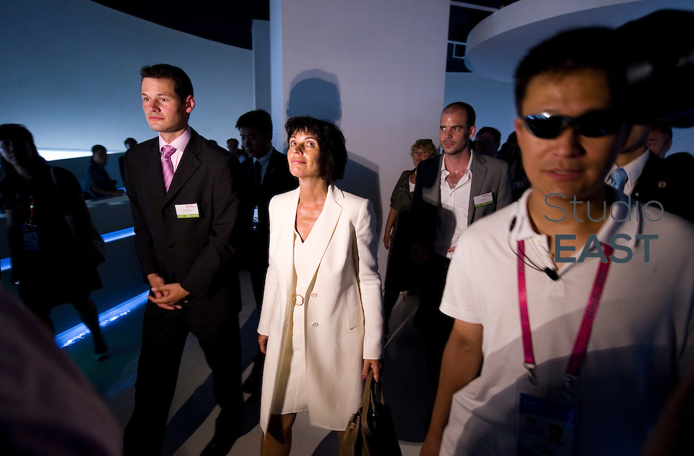 President of the Swiss Confederation Doris Leuthard visits the Basel-Geneva-Zurich Pavilion in Shanghai World Expo 2010, in Shanghai, China, on August 12, 2010. Photo by Lucas Schifres/2010
