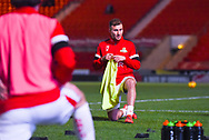 Herbie Kane of Doncaster Rovers (15) warming up during the EFL Sky Bet League 1 match between Doncaster Rovers and Southend United at the Keepmoat Stadium, Doncaster, England on 12 February 2019.