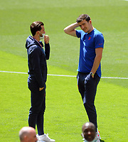 Football - 2021 EUFA European Championships - Finals - Group D - England vs Croatia, Wembley Stadium<br /> <br /> injured Harry Maguire of England ltalking to Ben Chilwell before kick off<br /> <br /> Credit : COLORSPORT/Andrew Cowie
