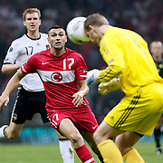 Turkey's Burak YILMAZ (L) during their UEFA EURO 2012 Qualifying round Group A matchday 19 soccer match Turkey betwen Germany at TT Arena in Istanbul October 7, 2011. Photo by TURKPIX