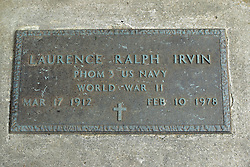 31 August 2017:   Veterans graves in Park Hill Cemetery in eastern McLean County.<br /> <br /> Laurence Ralph Irvin PHOM 3 US Navy World War II Mar 17 1912 Feb 10 1978<br /> <br /> PHOM designates Photographers Mate