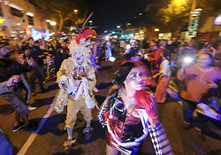 October 31, 2018 - Los Angeles, California, U.S - Parade goers attend at the West Hollywood Halloween costume carnival on Santa Monica Boulevard in Los Angeles on Oct. 31, 2018. (Credit Image: © Ringo Chiu/ZUMA Wire)