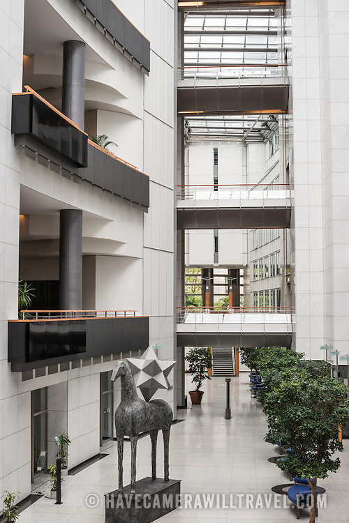 A sculpture sits at the base of an atrium in part of the European Parliament Building in Brussels, Belgium.