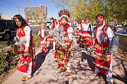 23 JANUARY 2011 - PHOENIX, AZ:  Mexican Catholic Matachine dancers lead the March for Life through Phoenix, AZ, Sunday. About 500 people participated in the pro-life march and rally, which marked the 38th anniversary of the US Supreme Court's Roe vs. Wade decision, which legalized abortion in the United States.       PHOTO BY JACK KURTZ