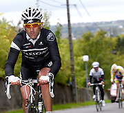 France, October 9 2011: Amateur cyclists climb the Côte de l'Epan before the 2011 edition of the Paris Tours cycle race. Copyright 2011 Peter Horrell