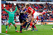 Barnsley midfielder Cameron McGeehan (8) heads over  during the EFL Sky Bet League 1 match between Barnsley and Luton Town at Oakwell, Barnsley, England on 13 October 2018.