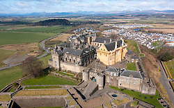 Aerial view from drone of Stirling Castle in Stirling, Scotland, UK