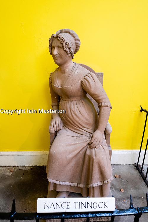Statue of Nance Tinnock at Burns Memorial Gardens in Alloway, Ayrshire, Scotland, UK.
