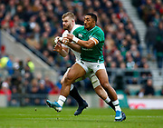 L-R George Kruis of England and Bundee Aki of Ireland during the Guinness Six Nations between England and Ireland at Twickenham  Stadium, Sunday, Feb. 23, 2020, in London, United Kingdom. (ESPA-Images/Image of Sport)